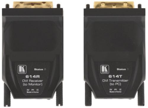 Комплект малогабаритных устройств для передачи сигнала DVI Single link по одной оптоволоконной линии на расстояние до 500 м Kramer 614R/T