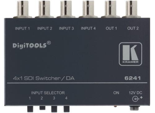 Коммутатор сигнала SDI 4x1 с усилителем-распределителем 1:2 Kramer 6241