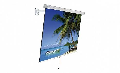 Проекционный экран с рычагом натяжения и выносным кронштейном для легкого изменения угла наклона и формата полотна.
