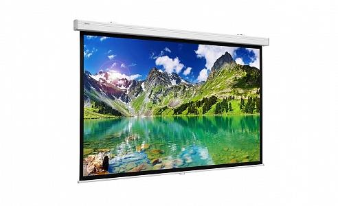 Проекционный экран с ручным управлением профессионального качества с надежным механизмом управления возвратом экрана с различными форматами и типами экранных полотен.