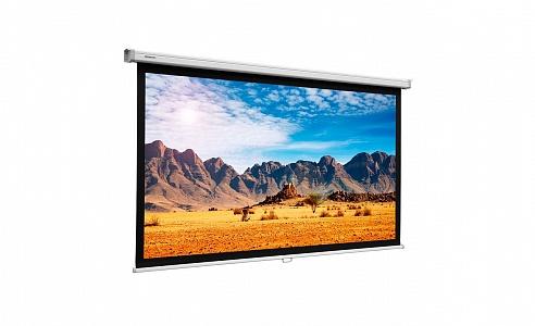 Простой проекционный экран с ручным управлением и пружинным механизмом.