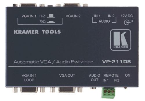 Высококачественный автоматический коммутатор 2:1 сигналов VGA и аудио стерео сигналов Kramer VP-211DS