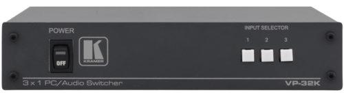 Коммутатор и усилитель-распределитель 3x1:2 компьютерной графики и балансного стереозвука Kramer VP-32K