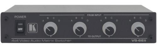 Матричный коммутатор 4:4 сигналов композитного видео и стерео аудио сигналов Kramer VS-6EII