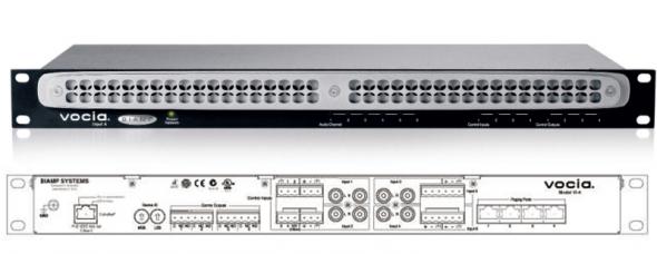 6-канальный сетевой модуль аналоговых аудиовходов для работы по протоколу CobraNet. DSP процессор. Порт RJ45. 4 аналоговых линейных входа с разъемами RCA/Phoenix. 2 аналоговых входа Phoenix с фантомным питанием. 4 логических входа/выхода. 4 разъема RJ 45