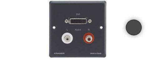 Настенная панель-переходник с проходными разъемами DVI и 2-мя RCA Kramer WAV-DA2