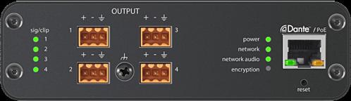 4-канальный сетевой аудио интерфейс Dante Mic/Line с блочными выходами