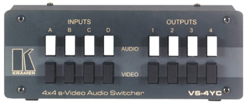 Механический коммутатор 4:4 сигналов S-video и аудио стерео сигналов Kramer VS-4YC