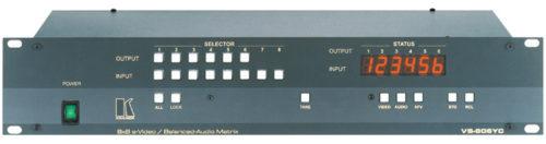 Матричный коммутатор 8:6 сигналов S-video и симметричных стерео аудио сигналов с переключением в интервале кадрового гасящего импульса Kramer VS-806YC