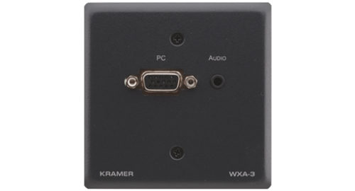 Настенная панель-переходник с разъема VGA и аудио (розетка 3.5-мм) на клеммный блок Kramer WXA-3